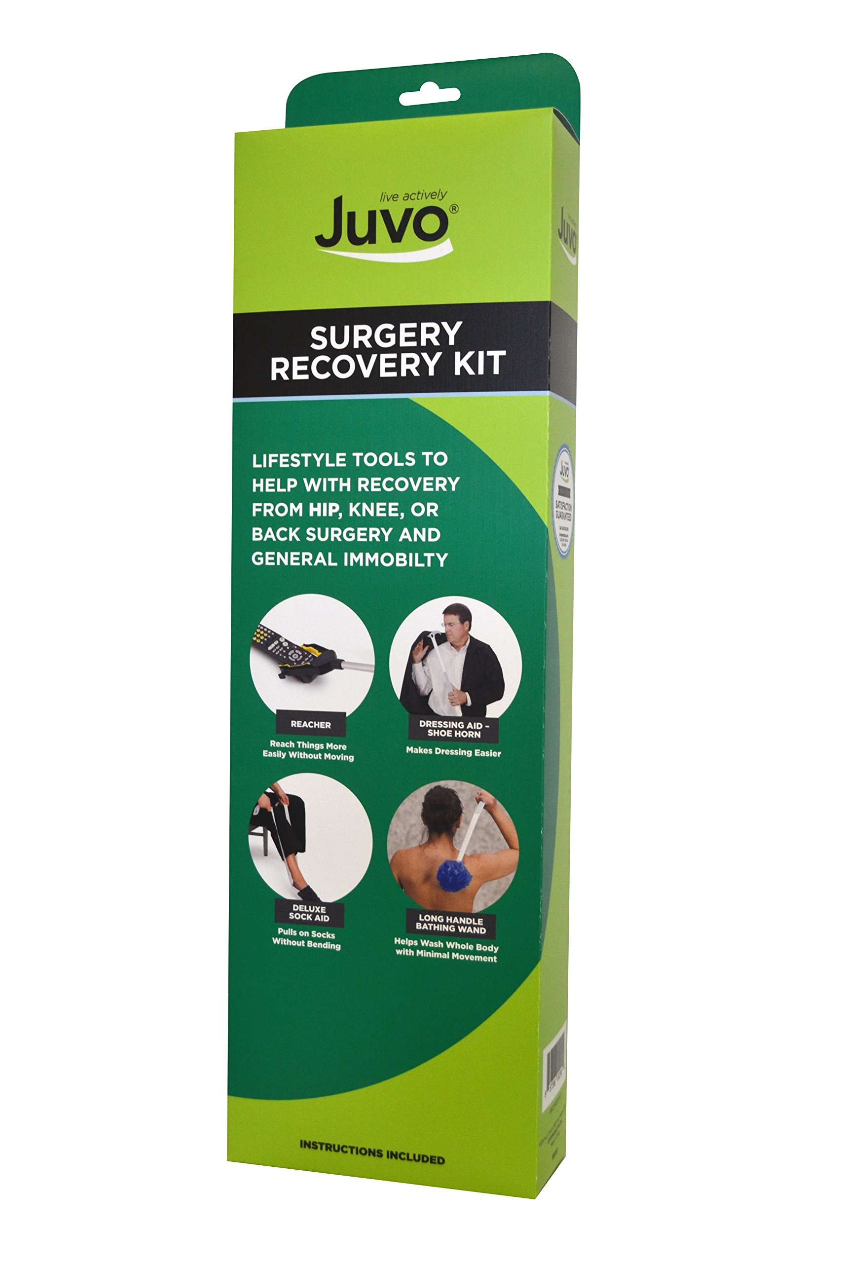 Juvo 6-Piece Surgery Recovery Kit; Ideal for Recovering from Hip, Knee or Back Surgery Includes 20'' Reacher, Dressing Aid, Shoehorn, Sock Aid, Long-Handle Bathing Wand and Elastic Shoelaces (RK101) by Juvo