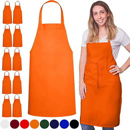 Unisex Black Apron Bulk with 2 Roomy Pockets Machine Washable for Kitchen Crafting BBQ 12 Pack Bib Apron