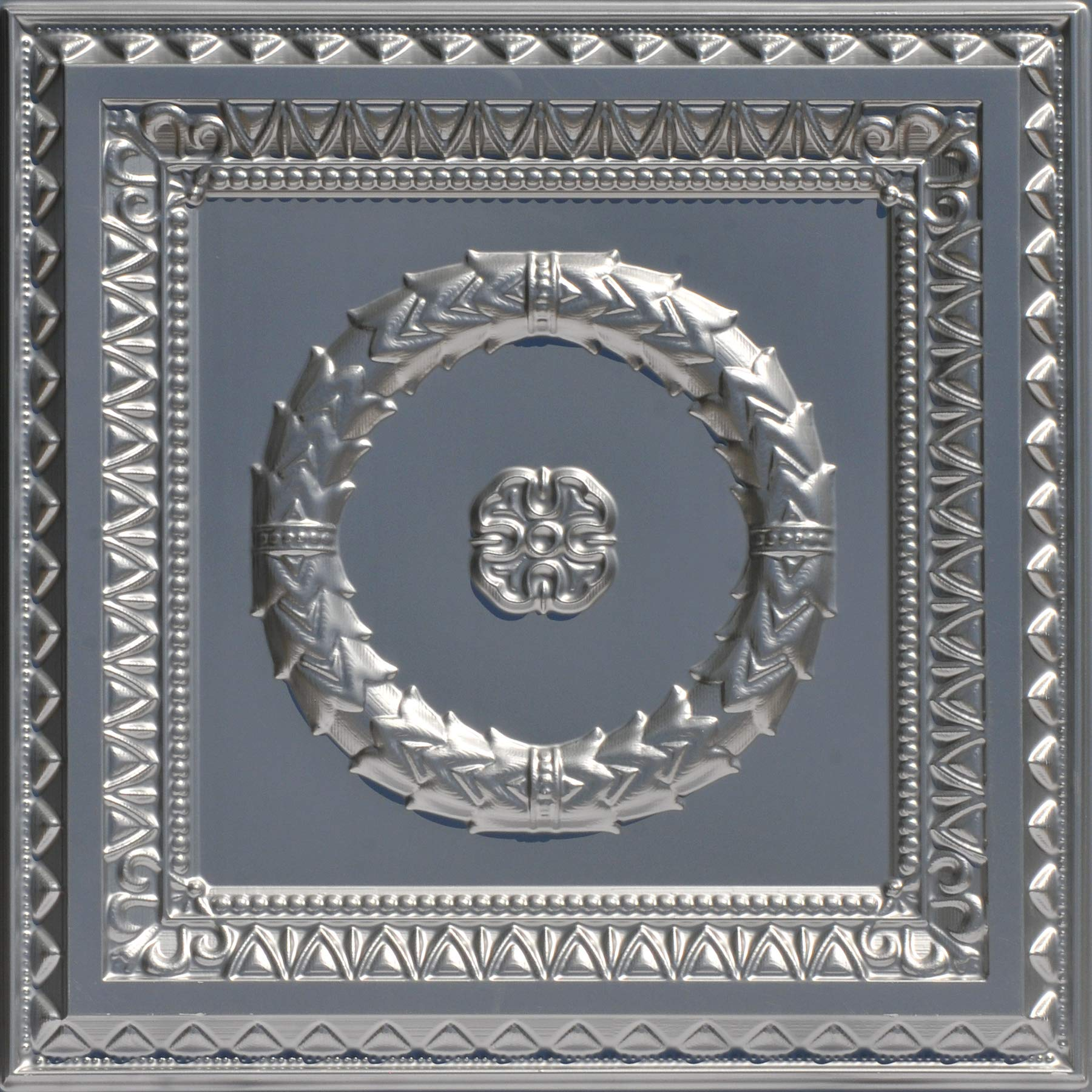From Plain To Beautiful In Hours 210sr-24x24-25 Laurel Wreath Ceiling Tile 24'' x 24'' Silver 25