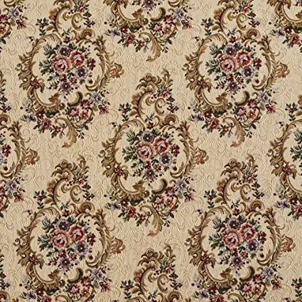 Amazon Com F643 Green Burgundy And Beige Floral Tapestry Upholstery