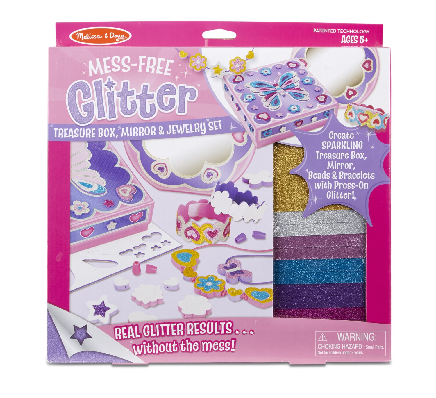 Melissa Doug Mess Free Glitter Treasure Box Mirror and Jewelry Set