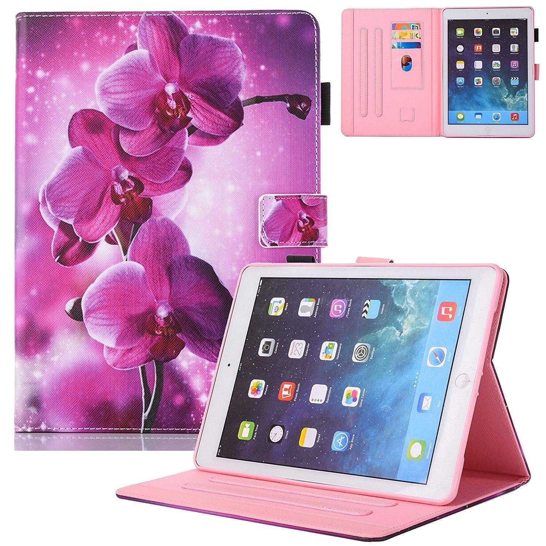 新しいiPadケースSmartレザーケース – unotechカードスロット保護ケースwithペンホルダーWake / Sleep Function for New iPad Pro 10.5 2017 B076KQ4PSW 1 Flower 1 Flower
