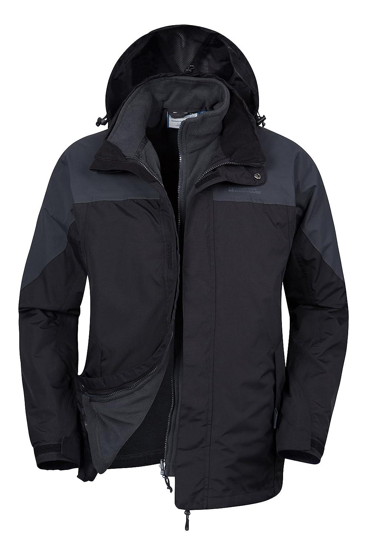 Mountain Warehouse Chaqueta impermeable 3 en1 Storm para hombre - Abrigo transpirable, chubasquero con costuras termoselladas, chaqueta informal - Para viajar