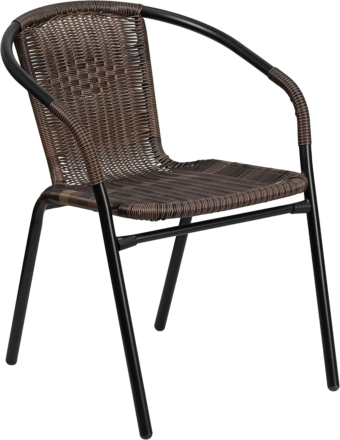 Flash Furniture Medium Brown Rattan Indoor-Outdoor Restaurant Stack Chair