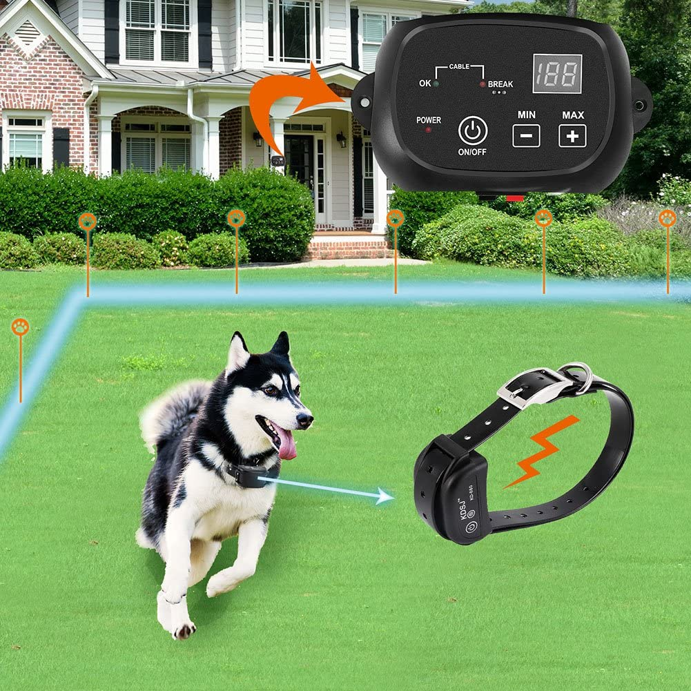 COVONO Electric Dog Fence,Pet Containment System Aboveground Underground,650 Ft Wire,IP66 Waterproof and Rechargeable Collar, Shock Tone Correction,KD660B