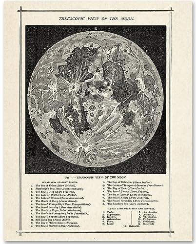 Amazon.com: Antique Map of the Moon - 11x14 Unframed Art Print ...