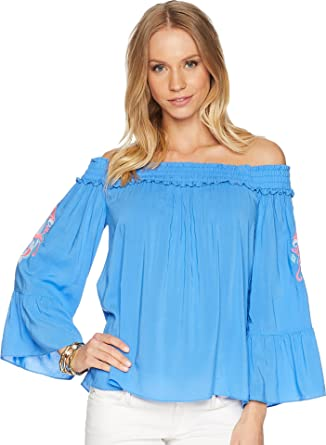 60a28ac1f815f7 Lilly Pulitzer Women s Moira Top Bennet Blue Large at Amazon Women s ...