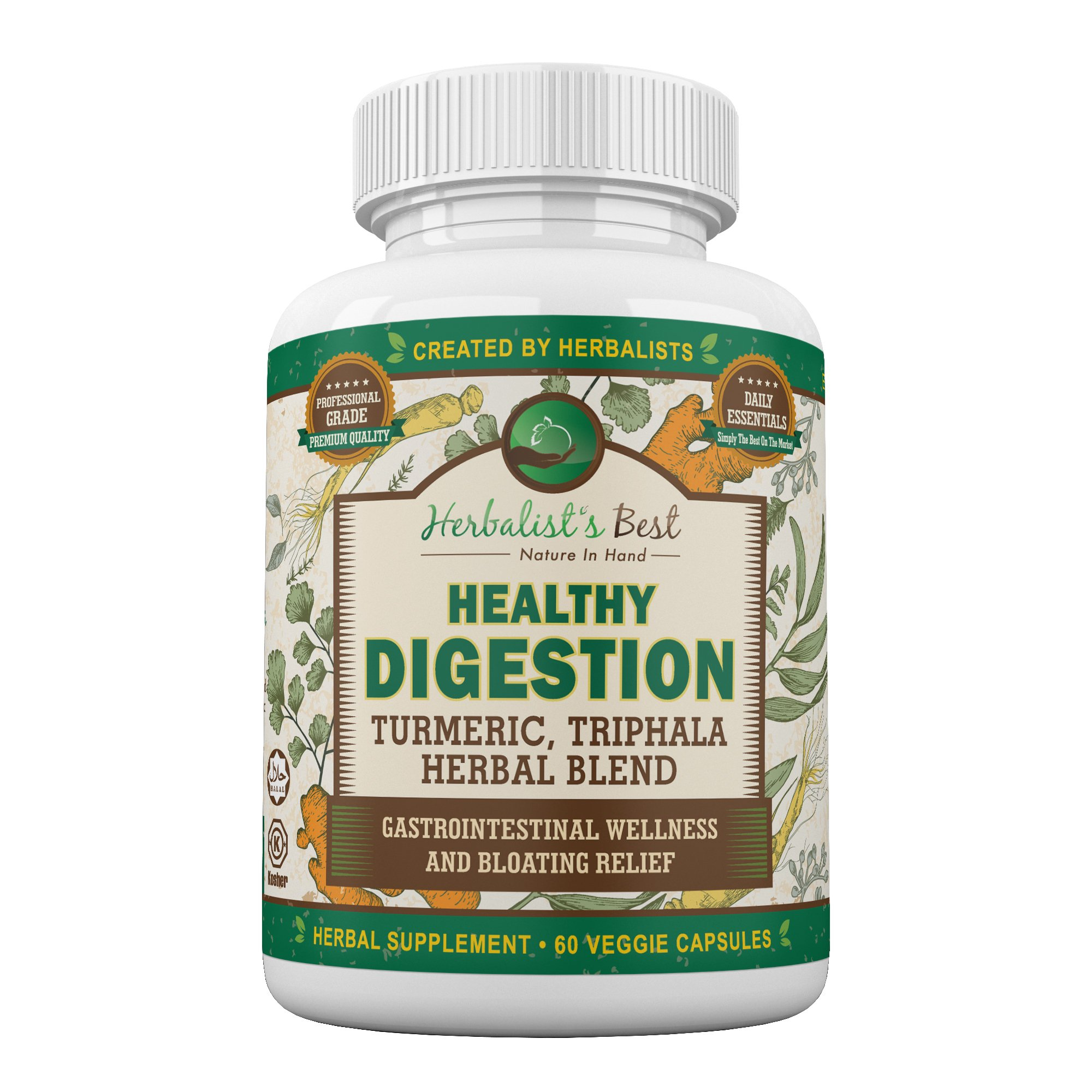 Healthy Digestion Restores Gut Health I Turmeric Triphala Yellow Dock Aid Colon Cleanse Liver Detox Arthritis Bloating Gas I Probiotic Alternative I Boost GI Tract Wellness by Herbalist's Best (1) by Herbalist's Best