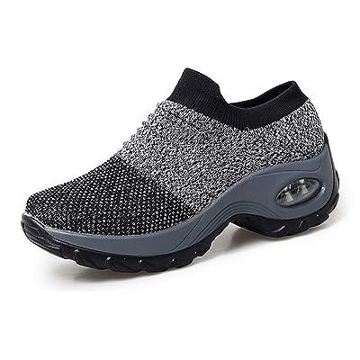 UNN Women's Walking Shoes Slip-on Mesh Air Cushion Sneakers Non-SlipPlatform Loafers | Walking