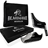 Grooming & Shaving Kit For Men By BODLER Beard & Hair – Goatee Shaper Template, Fine Mustache Comb & Accessory Travel Pouch Set – Shave Your Beard Like A Pro! Nice Gift Box Packaging & Ebook