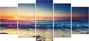 Pyradecor 5 Piece Modern Seascape Artwork Stretched and Framed Sea Beach Pictures Giclee Canvas Prints Ocean Paintings on Canvas Wall Art for Living Room Bedroom Home Decorations
