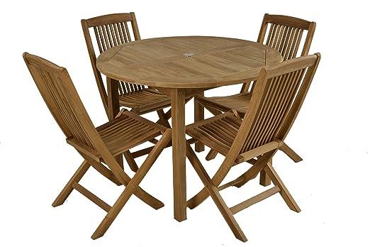 Bistro mesa redonda plegable de teca de grado A mesa de comedor y ...