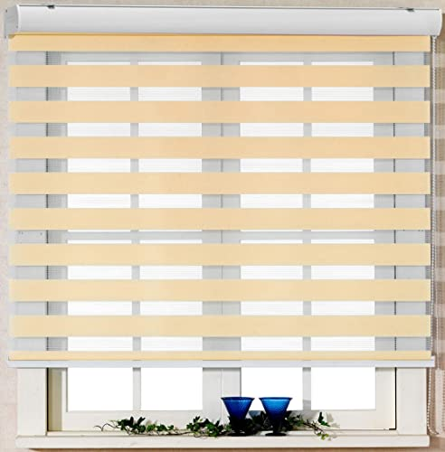 Foiresoft Custom Cut to Size, Winsharp Basic, Peach,W 108 x H 55 inch Zebra Roller Blinds, Dual Layer Shades, Sheer or Privacy Light Control, Day and Night Window Drapes, 20 to 110 inch Wide