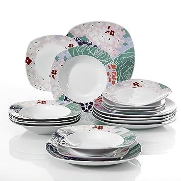 Veweet OLINA 18pcs Assiettes Pocelaine Service de Table 6pcs Assiettes  Plates 24,7cm, 6pcs cd36b0fe5027