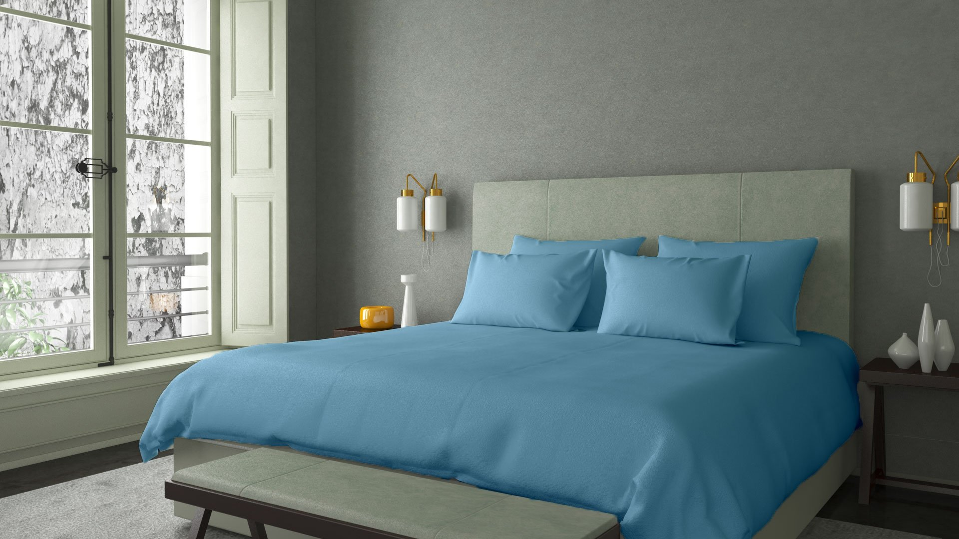 100% RISK FREE PURCHASE with LUJONEST Genuine SPA LIKE FEEL EGYPTIAN Cotton STAIN FREE Italian Finish Made in India Sheet Set 600TC Fits Upto 21 Inches Deep Pocket Solid (Queen, Sky Blue)
