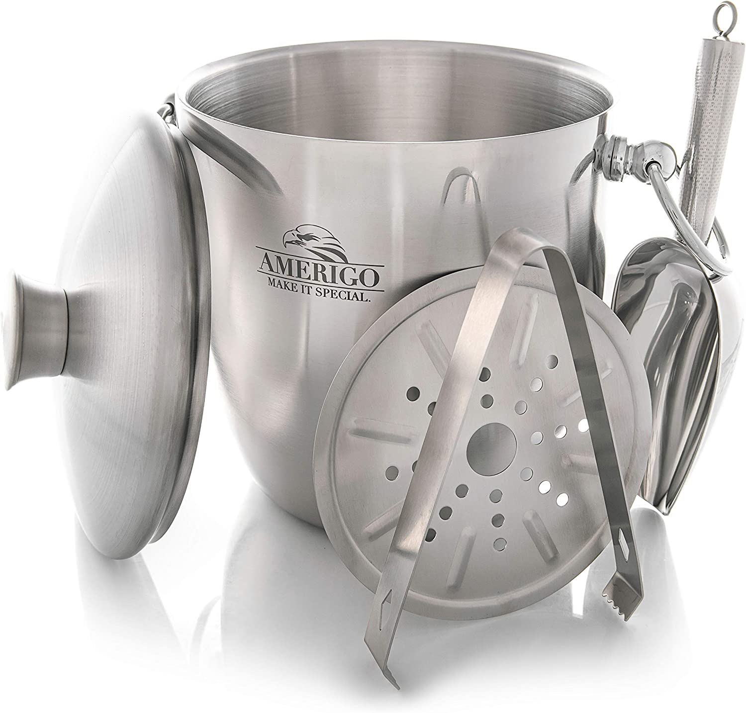 Amerigo Exclusive Insulated Ice Bucket - Well Made Double-Wall Champagne Bucket Keeps Ice Frozen Longer - 3 Liter Stainless Steel Ice Bucket for Parties with Lid, Strainer, Ice Tongs + Free Ice Scoop