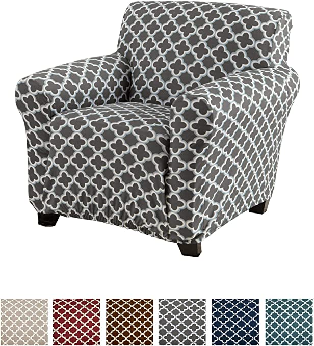 Printed Twill Arm Chair Slipcover. One Piece Stretch Chair Cover. Strapless Arm Chair Cover for Living Room. Brenna Collection Slipcover. (Chair, Charcoal)