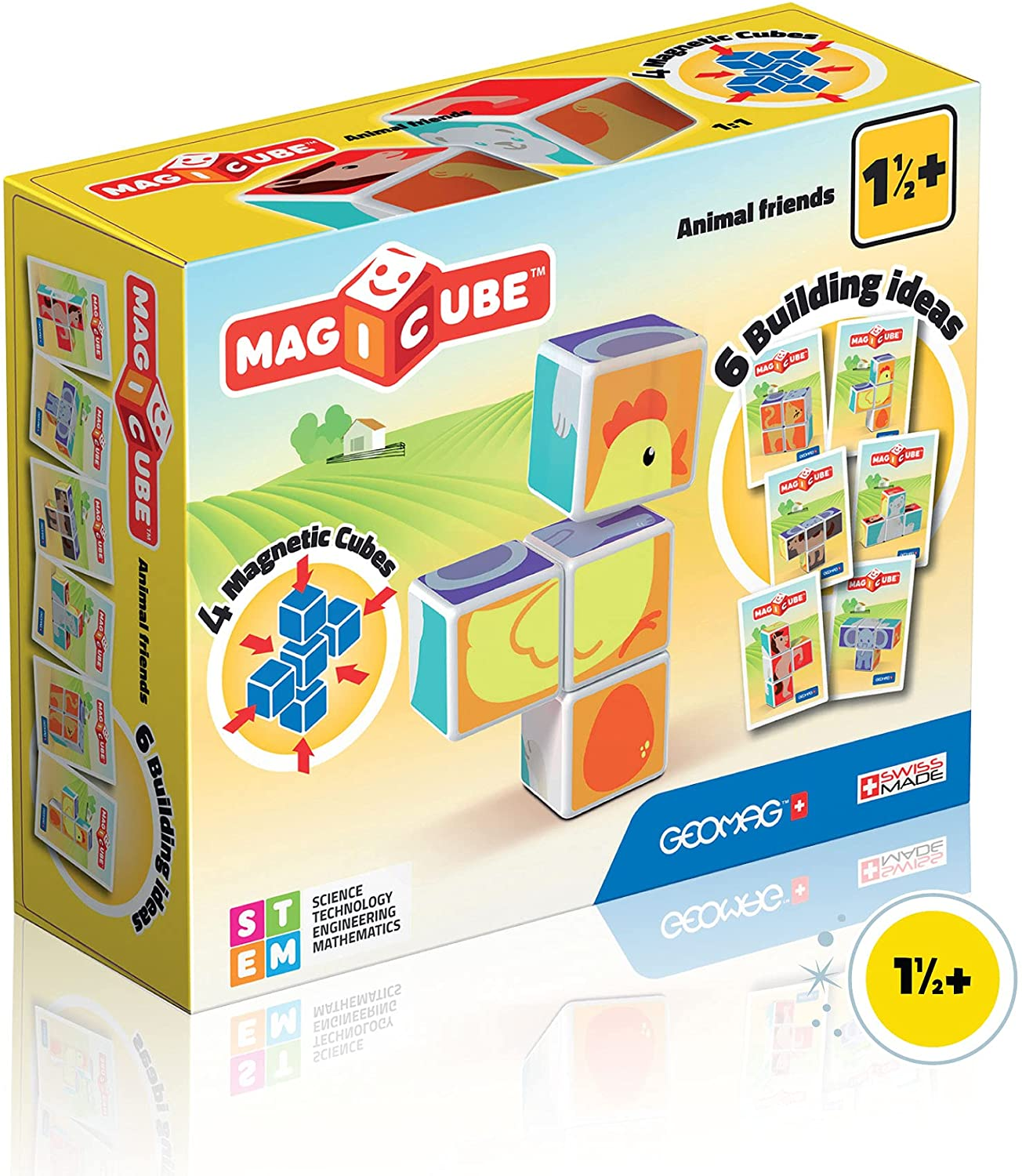 STEM Learning Swiss-Made Geomag Magnetic Toys Magicube Math Building Fun Magnet Cubes and Number Clips Set Magnets for Kids Ages 3+