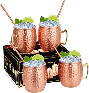 Hossejoy Moscow Mule Copper Mugs - Set of 4 -100% Handcrafted Pure Solid Food Safe Copper Mugs, 16 oz Copper Cups with 4 Cocktail Copper Straws