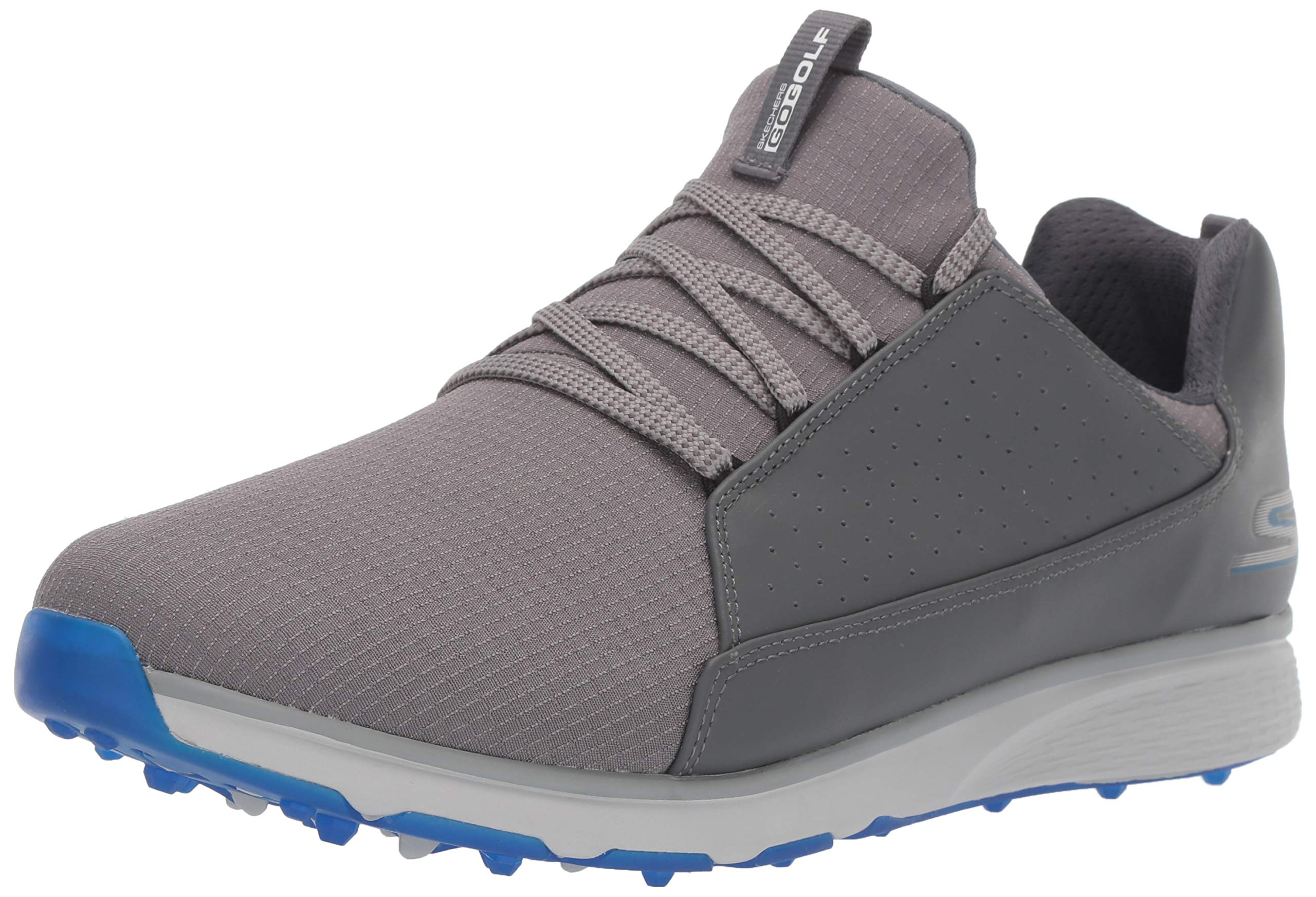 Skechers Men's Mojo Waterproof Golf Shoe, Charcoal/Blue, 9 W US by Skechers