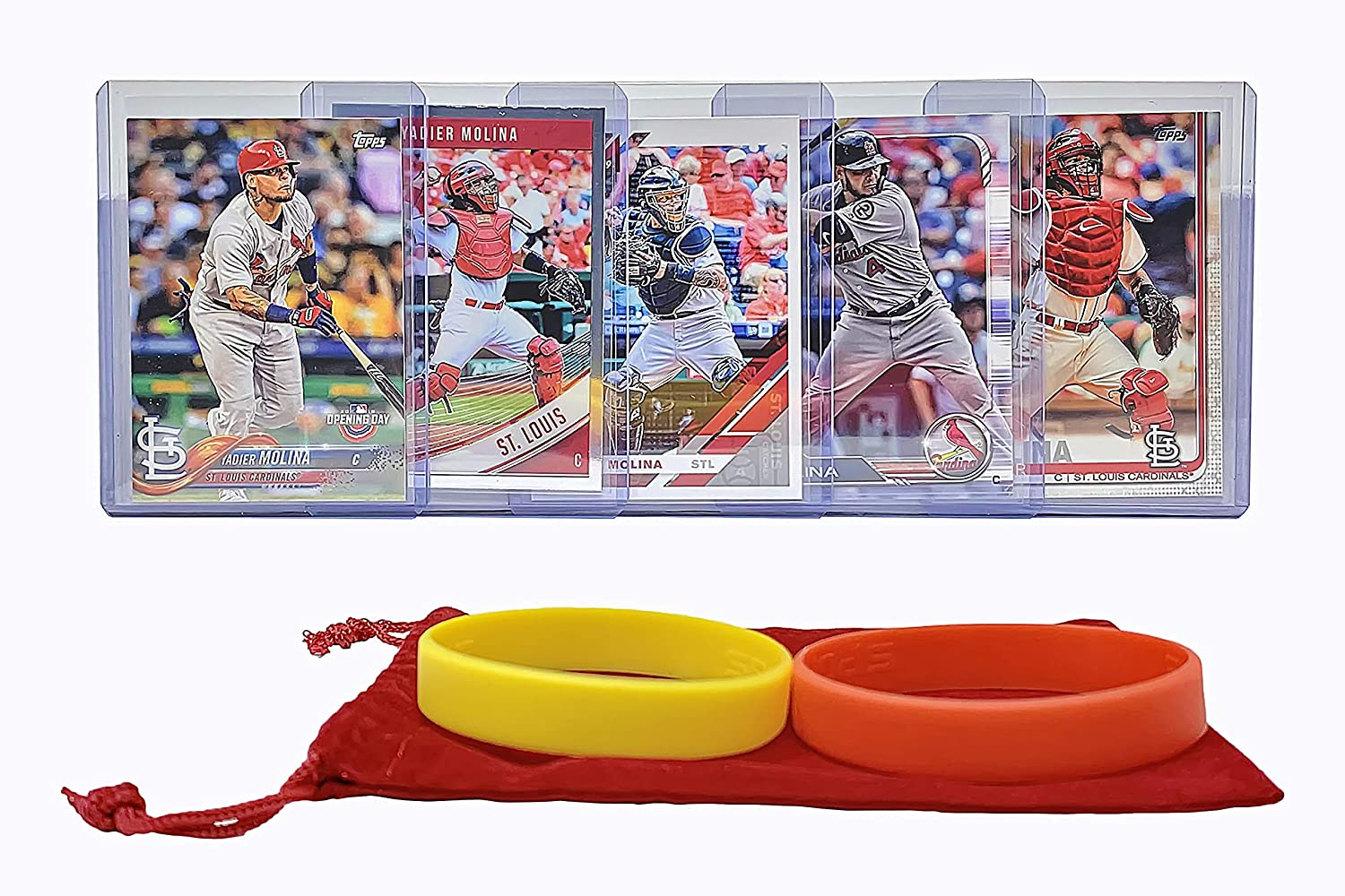 Yadier Molina Baseball Cards ASSORTED St 5 Louis Cardinals Trading Card and Wristbands Gift Bundle