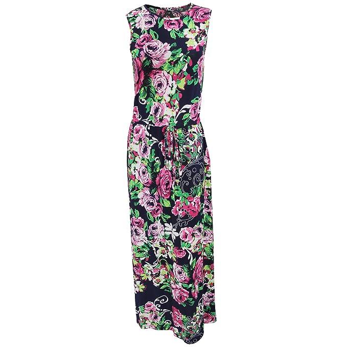 Vestido Maxi para Verano con Estampado de Rosas para Mujer (Pequeña (S)/