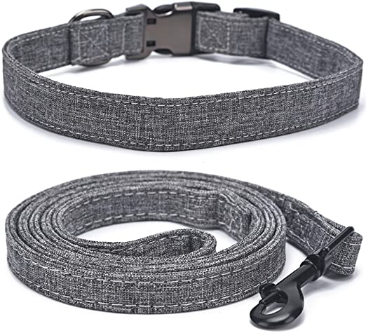 Soft Canvas Dog Collar with Leash, Double-Layer Sewing Lightweight Adjustable Puppy Collars, Engraved Pet Collar with Semi-Metal Buckle for Small Medium Large Dogs, Black Grey S