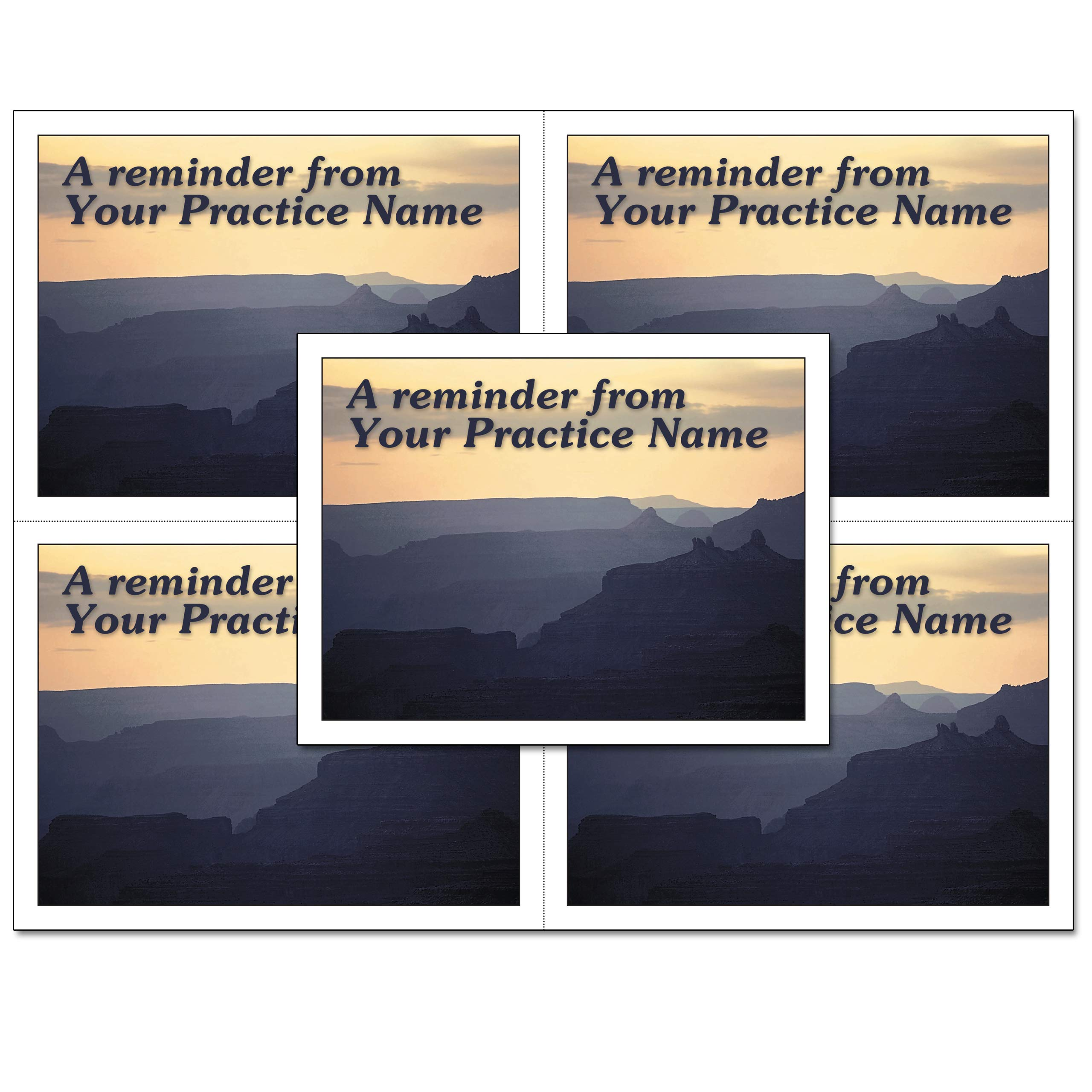 Laser Reminder Postcards, Customizable Dental Appointment Reminder Cards. 4 Cards Perforated for Tear-Off at 4.25'' x 5.5'' on an 8.5'' x 11'' Sheet of 8 Pt Card Stock. DEN301LZC (2500) by Custom Recall (Image #1)