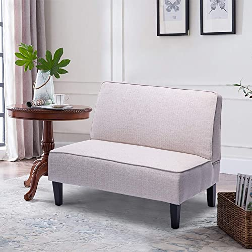 Cushioned Linen Armless Settee Loveseat Sofa Couch Home Casual Living Room Sleeper Apricot