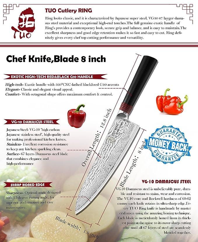 Amazon.com: TUO Cutlery Ring Series Cuchillo de chef japonés ...
