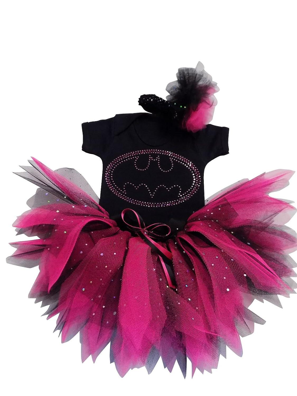 Pink Bat Girl Superhero Rhinestone Vest Tutu Skirt 3-4 years