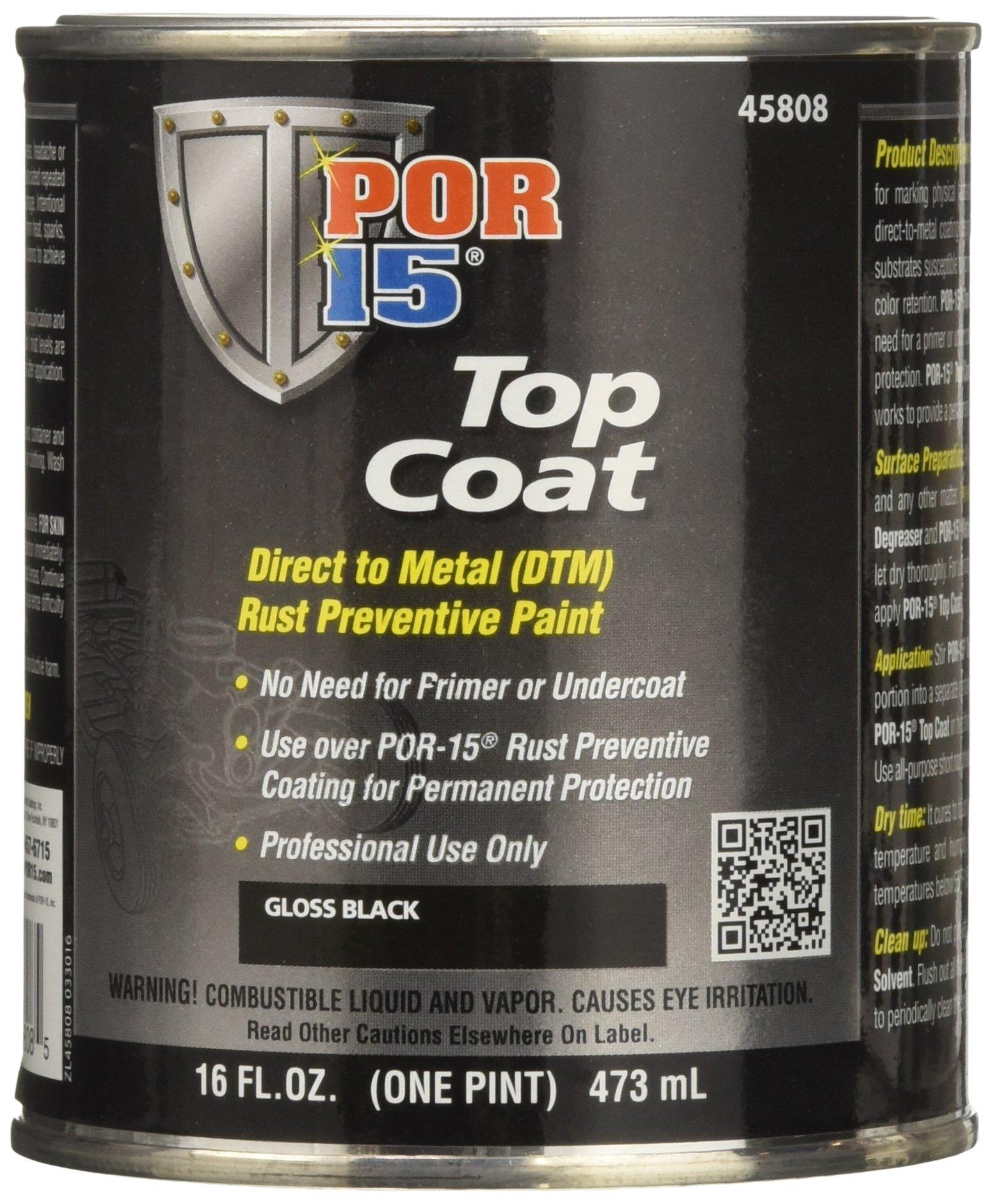 POR-15 45808 Gloss Black Top Coat - 1 pint