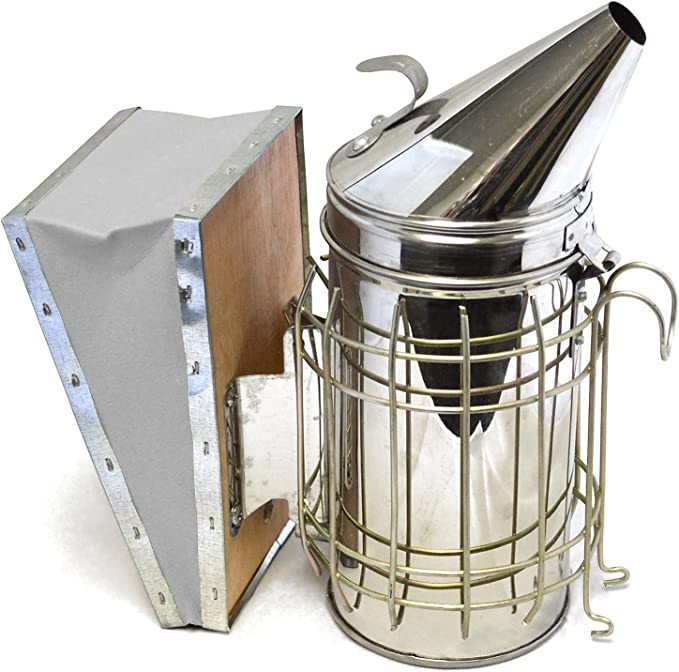 Bee Smoker Kit Hive Sprayer Beekeeping Tools With Heat Shield Protection Manual