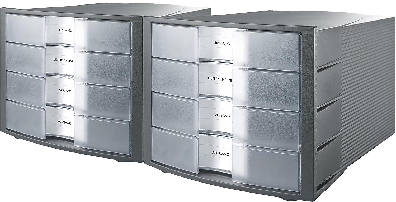 Han Schubladenbox IMPULS – Stapelbares Ablagesystem mit 4 großen, geschlossenen Schubladen für DIN A4/C4 inkl. Beschriftungsschilder – 29,4 x 36,8 x 23,5 cm (BxTxH) – Schwarz 5 cm (BxTxH) – Schwarz HIDO4-BK