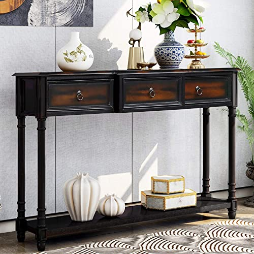 Console Table Sideboard Table with 3 Drawers Luxurious and Exquisite Design for Entryway with Projecting Drawers and Long Shelf Espresso