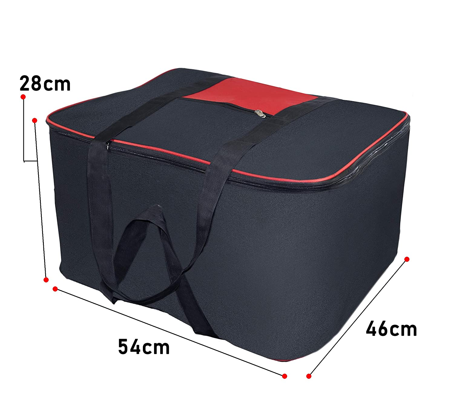 c1e6aa8037d6 Storite Nylon Big Underbed Storage Bag Moisture Proof Cloth Organiser with  Zippered Closure and Handle(BlackRed, 54x46x28cm): Amazon.in: Home & Kitchen