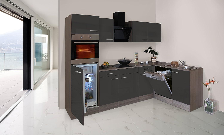 respekta Economy L-Form Winkel Küche Küchenzeile Eiche York grau 280x172cm