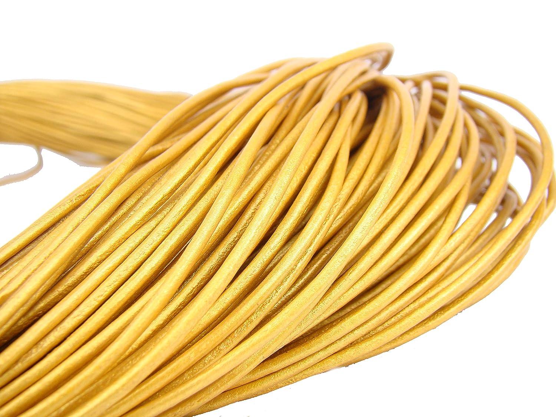 esnado Lederband Gold Lederschnur Lederriemen 5 m Rund 2,0 mm