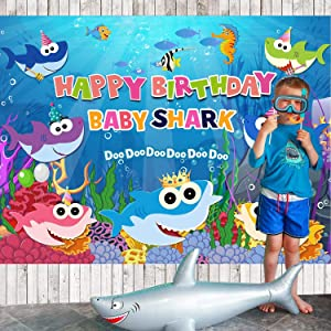 Baby Shark Family Photo Background Children Happy Birthday Party Photography Backdrops Cartoon Animals Theme Studio Props Booth