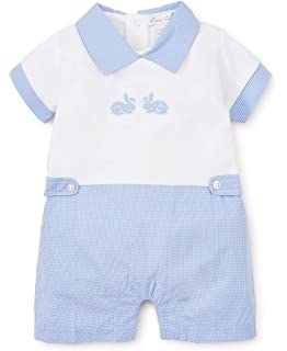 02e9290cb55 Kissy Kissy Baby-Boys Infant Pique Bunny Hop Blue and White Short Playsuit  with Blue