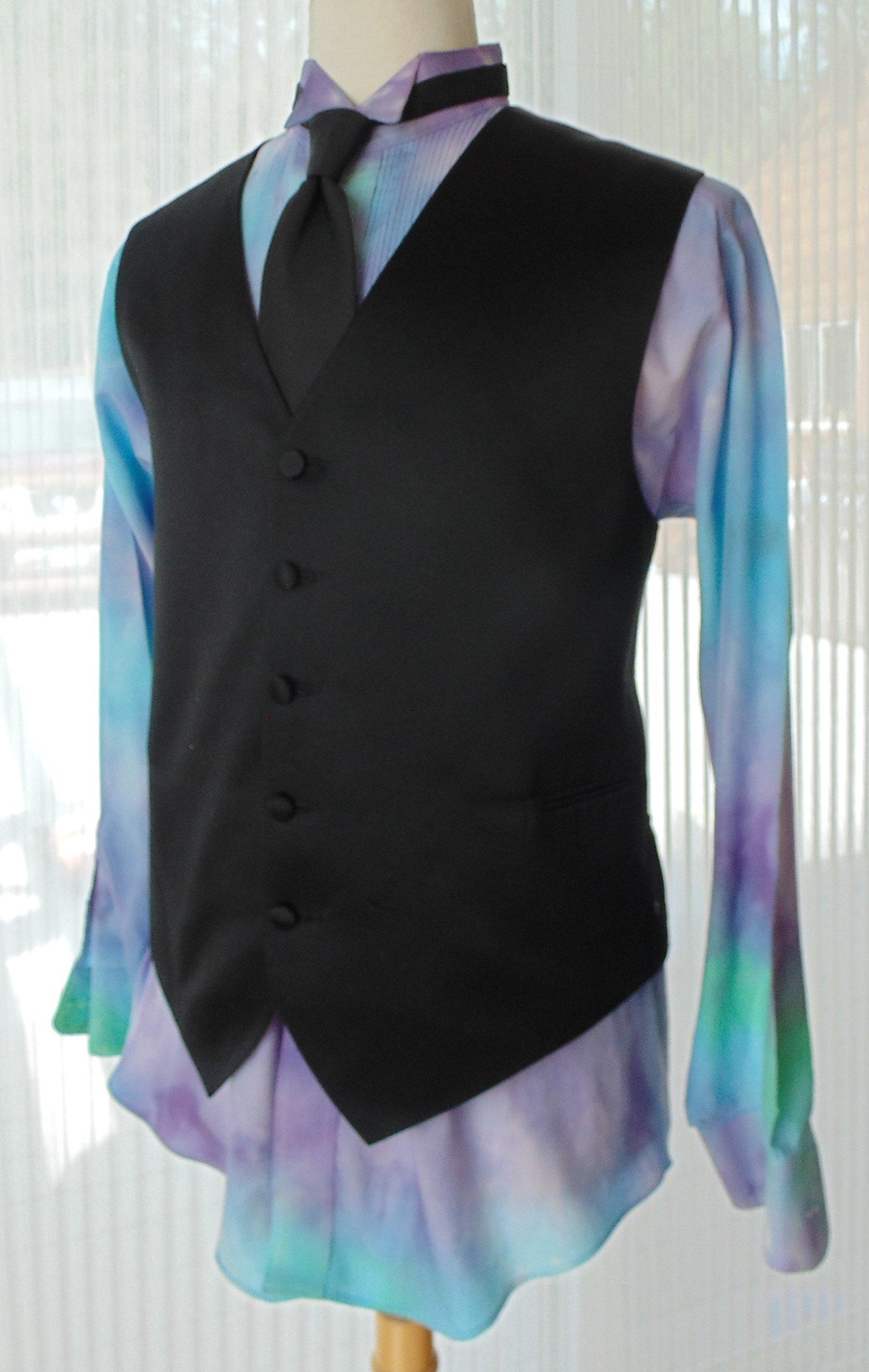 Men's L Hand Tie-dye Tuxedo Shirt