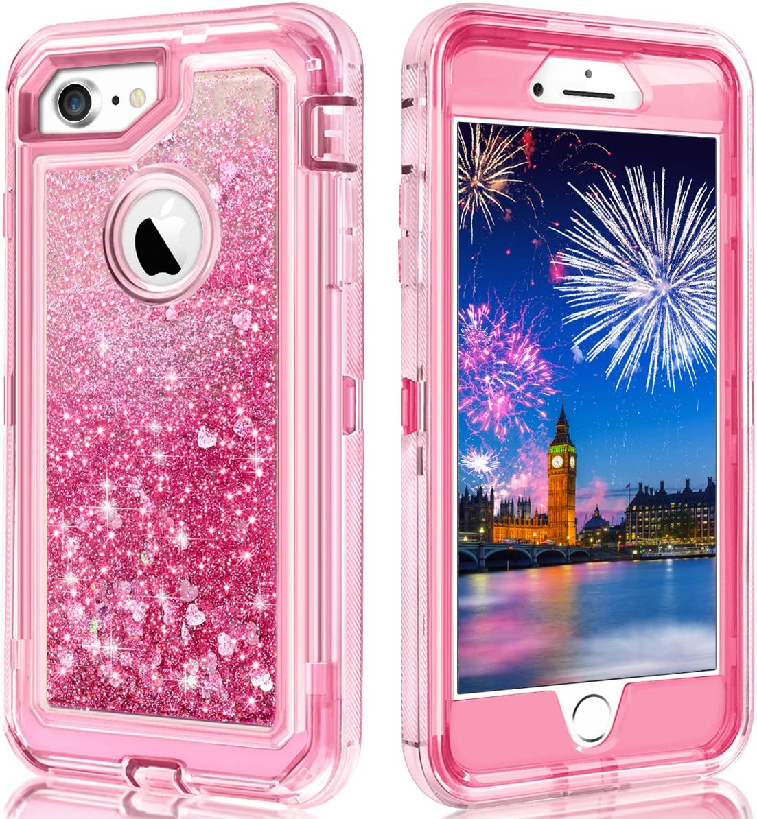 WOLLONY for iPhone 7 Case,iPhone 6 Case,iPhone 8 Case 360 Full Body Shockproof Liquid Glitter Quicksand Bling Heavy Duty Hard Bumper Non-Slip Soft Transparent Protective for iPhone SE2 8 7 6 Pink
