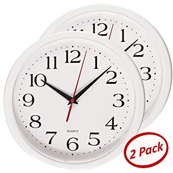 Bernhard Products   White Wall Clocks,10 Inch   Set Of 2 Silent Non Ticking