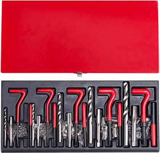 12Pcs Thread Repair Kit M3 x 0.5 Carbon Steel Self Tapping Thread Inserts Tool Set Helical Coil Repair Set with Storage Box