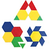 Learning Resources Plastic Pattern Blocks .5cm, Counting & Sorting, Early Math Concepts, Set of 100 Blocks, Grades PreK+Ages