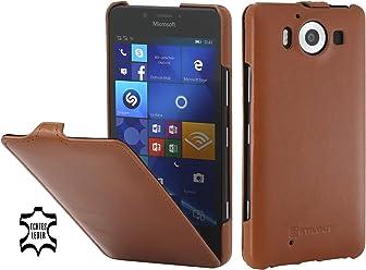 StilGut UltraSlim, Housse en Cuir pour Microsoft Lumia 950 & Lumia 950 Double SIM, Cognac