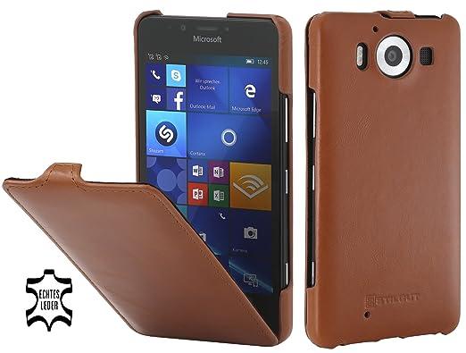 7 opinioni per StilGut UltraSlim Case, custodia in pelle per Microsoft Lumia 950, cognac