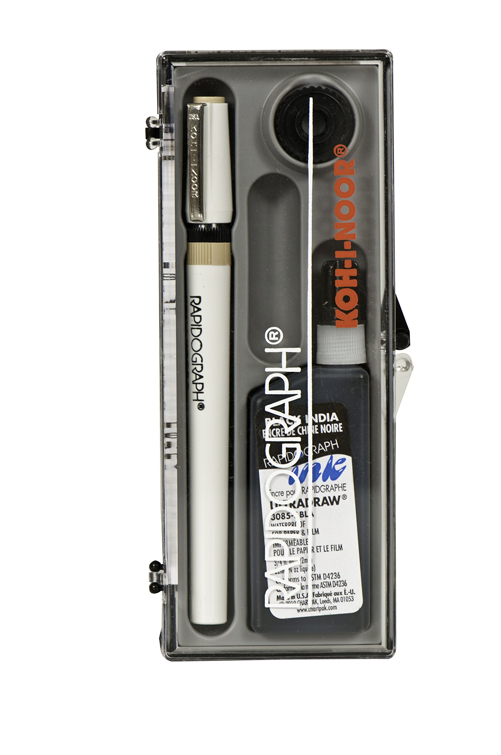 Koh-I-Noor Rapidograph Pen and Ink Set.25mm Pen Nib and .75 oz. Bottle of Ultradraw Black Ink, 1 Set Each (3165BX.ZZZ)