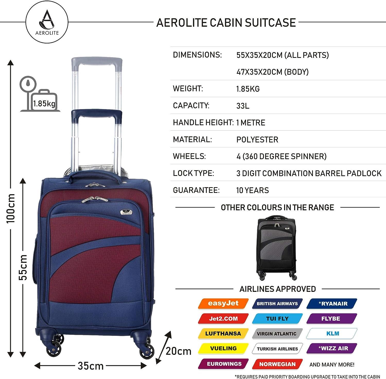 81cm 72cm Aerolite Set de 3 Valises Souples L/égeres /à 4 roulettes Blue Marine//Violet Bagage Cabine