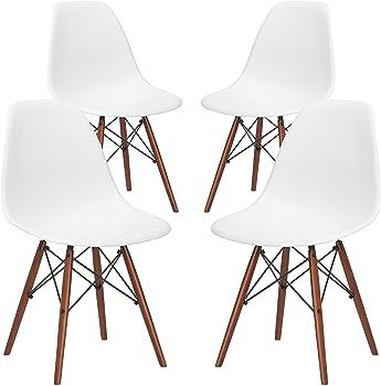 Set-of-4 Poly & Bark Vortex Modern Mid-Century Side Chair (White)
